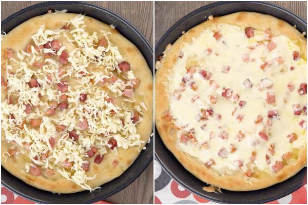 pizza blanche avec du fromage avant et après fondu.