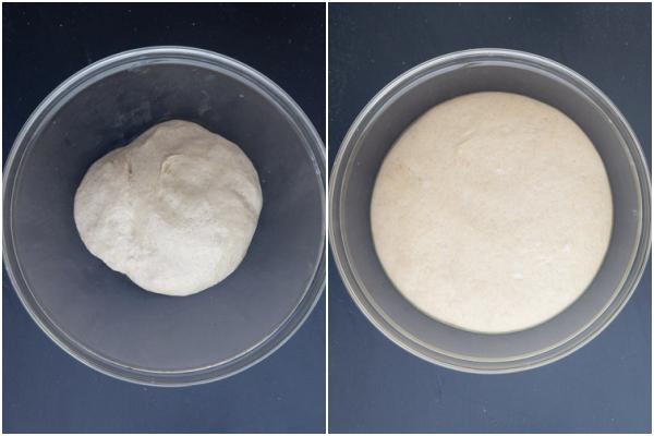 Pâte dans un bol en verre avant et après le lever.