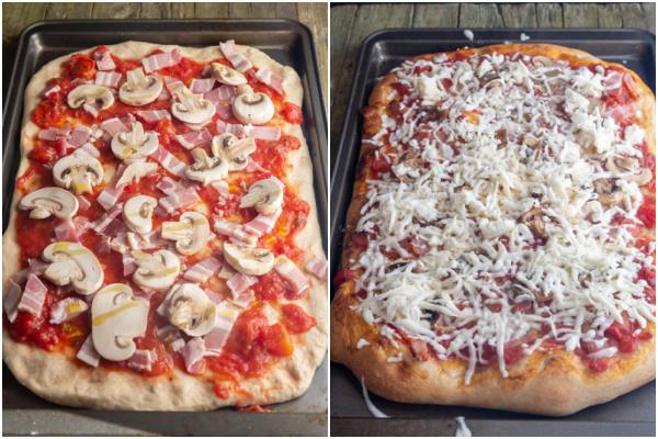 Garnitures de pizza ajoutées, pizza cuite au four avec du fromage râpé sur le dessus avant de fondre.