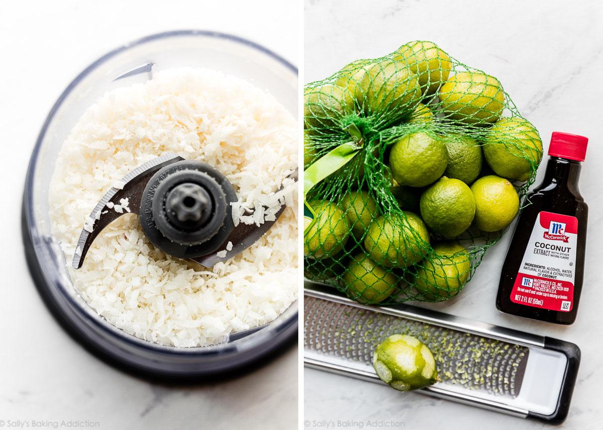 Noix de coco râpée sucrée dans un robot culinaire à côté d'une photo de limes clés et d'extrait de noix de coco