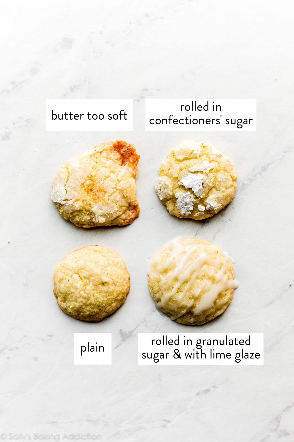 4 biscuits à la noix de coco et à la lime avec garnitures différentes