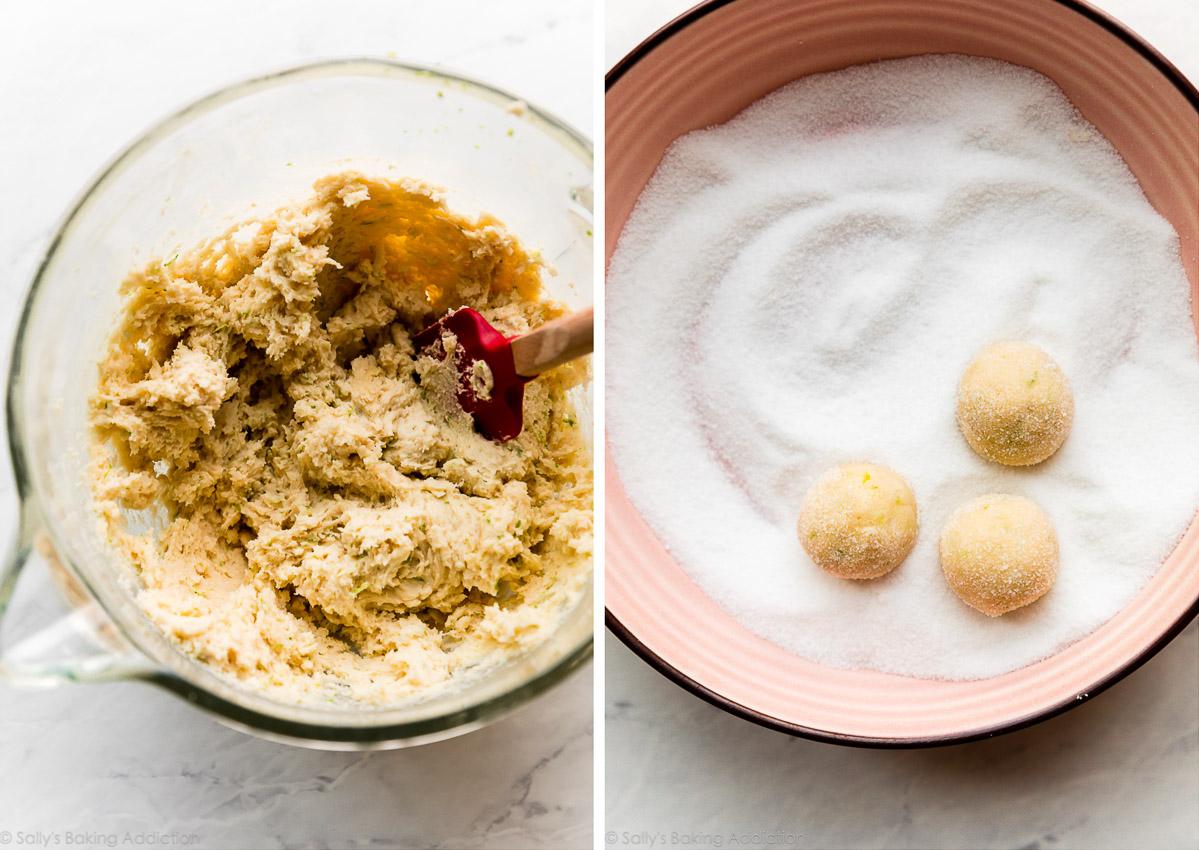 pâte à biscuits préparée dans un bol à côté d'une photo de boules de pâte à biscuits roulées dans du sucre granulé