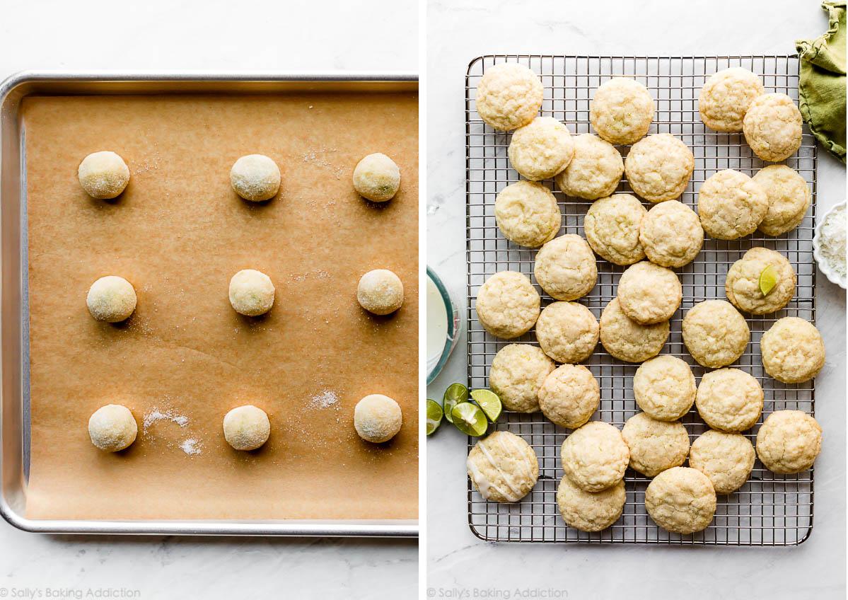 boules de pâte à biscuits avant la cuisson et biscuits cuits au four sur une grille