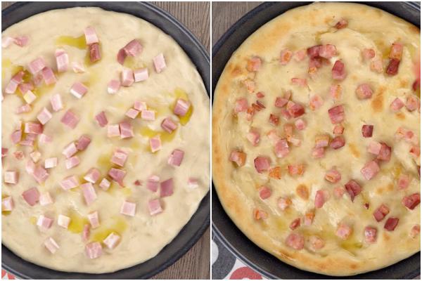 Pizza avant et après cuisson avec de l'huile et de la pancetta.