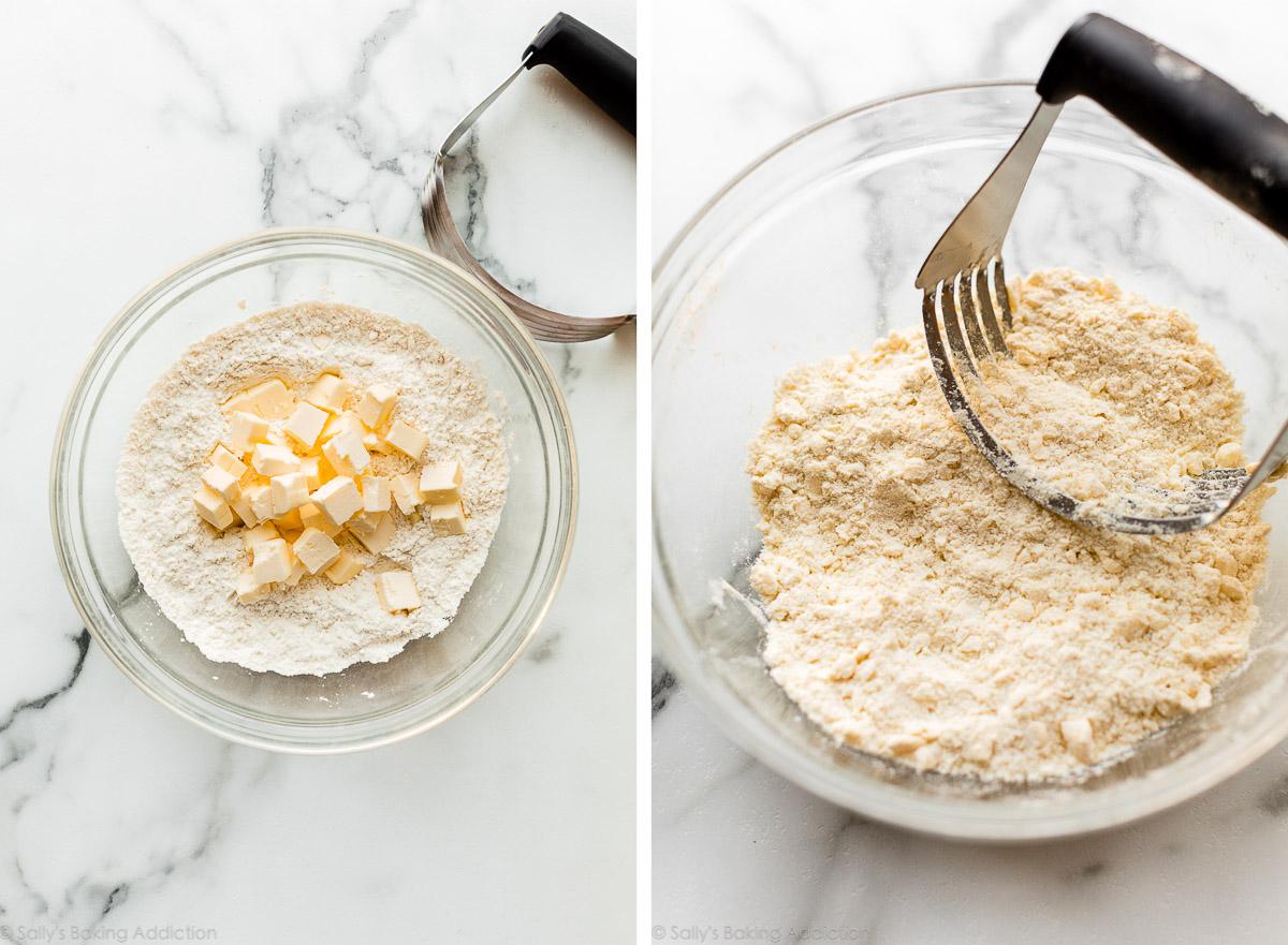 beurre et farine se réunissant pour faire une pâte à tarte à galette