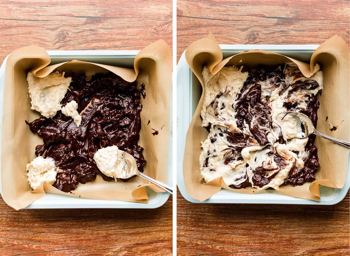 assemblage de brownies à la noix de coco avec un tourbillon de gâteau au fromage