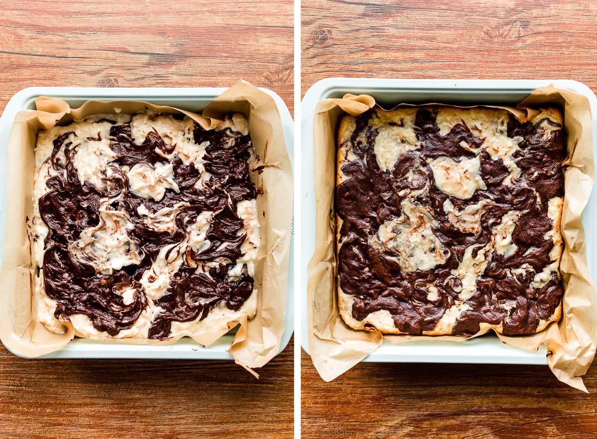brownies à la noix de coco avant et après cuisson