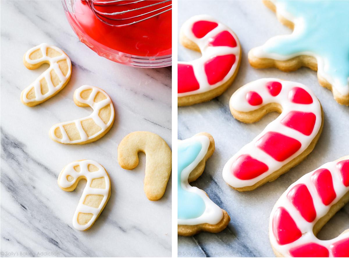 Biscuits de Noël à la canne de bonbon avec glaçage rouge et blanc